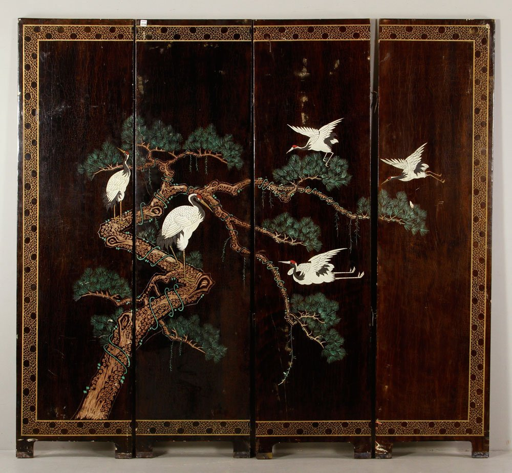 Antique Chinese Four Panel Dressing Screen
