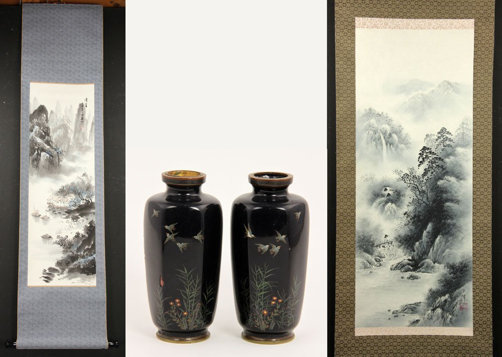 Two Chinese Paintings and Pr. Cloisonne Urns