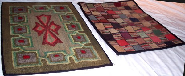 2005: TWO MARITIME HOOKED RUGS ABSTRACT & FOLKY