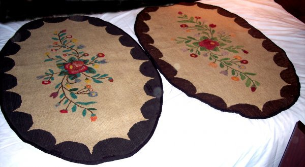 2006: TWO MARITIME HOOKED RUGS OVAL FLORAL
