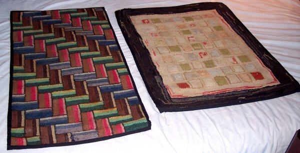 2008: TWO MARITIME HOOKED RUGS FOLKY & GEOMETRIC