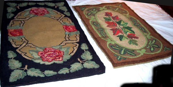 2011: TWO MARITIME HOOKED RUGS FLORAL & ABSTRACT