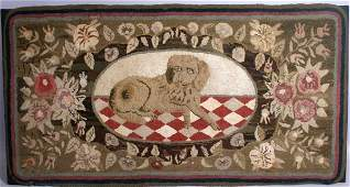 2018: EARLY HOOKED RUG WITH DOG MOTIF