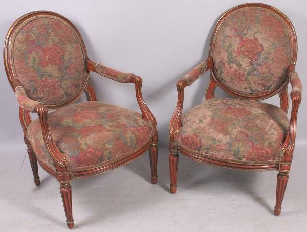 1002: SET OF TEN 20TH CENTURY ARM CHAIRS 'M.GEAU'