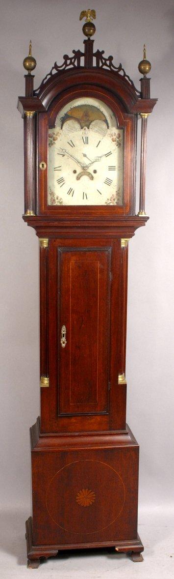 1006: 18TH CENTURY MAHOGANY TALL CLOCK AMOS FRYE