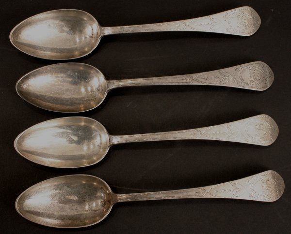 1010: FOUR PAUL REVERE SILVER ENGRAVED SPOONS
