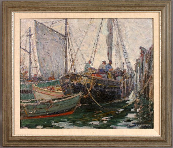 1011: SIGNED A.T.HIBBARD OIL ON BOARD 'BAITING UP'