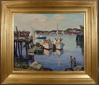 SIGNED OTIS COOK OIL ON CANVAS GLOUCESTER
