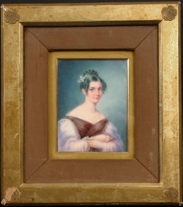 1058: PORTRAIT OF WOMAN ON IVORY DATED 1835
