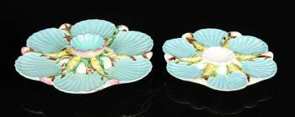 2 George Jones English Majolica Oyster Plates