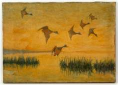 Attr Benson Ducks in Flight Oil on Canvas
