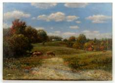 Pastoral Landscape with Cows Oil on Canvas