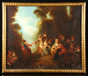 Continental School, Dancing Scene, Oil On Canvas