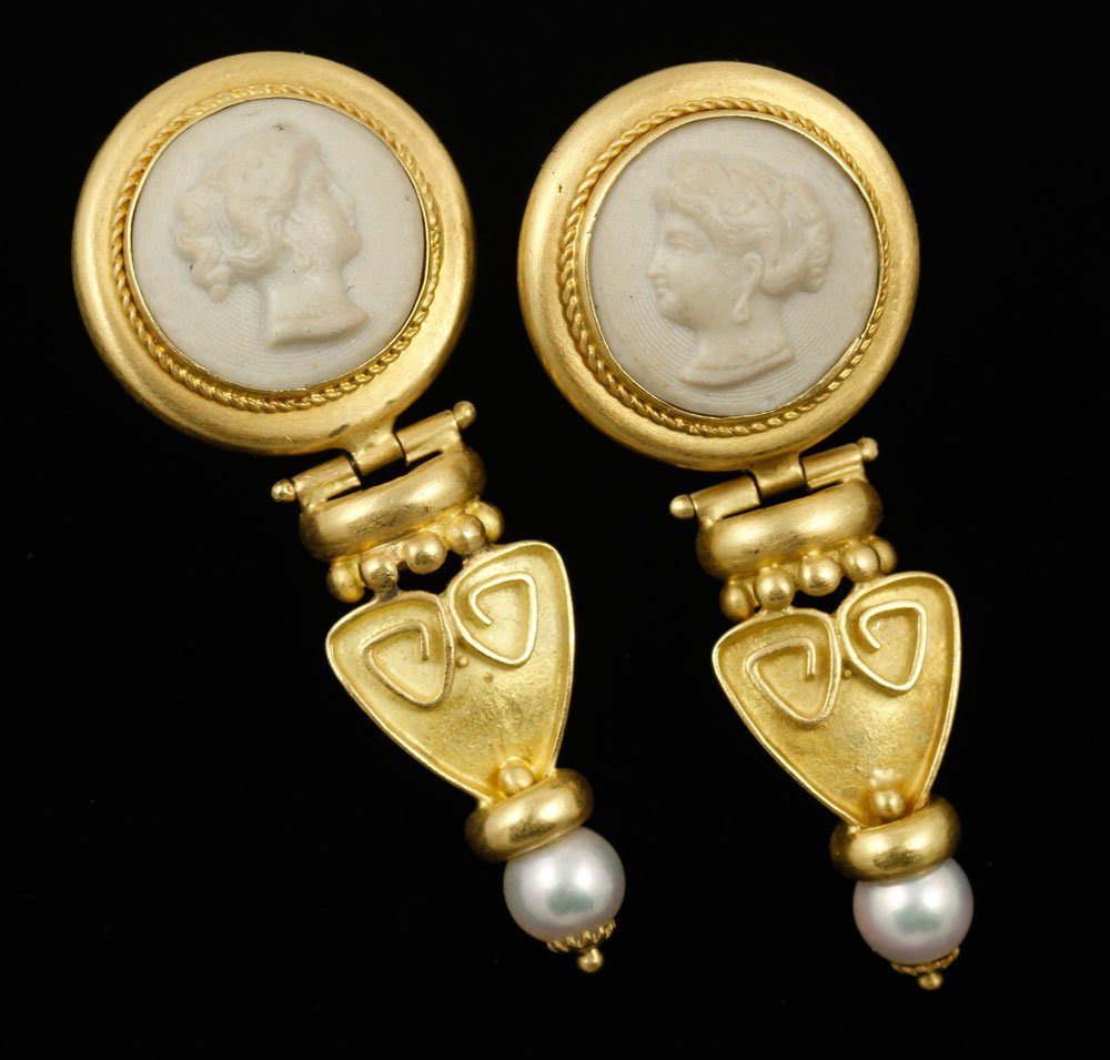 18K Yellow Gold Italian Etruscan Style Earrings