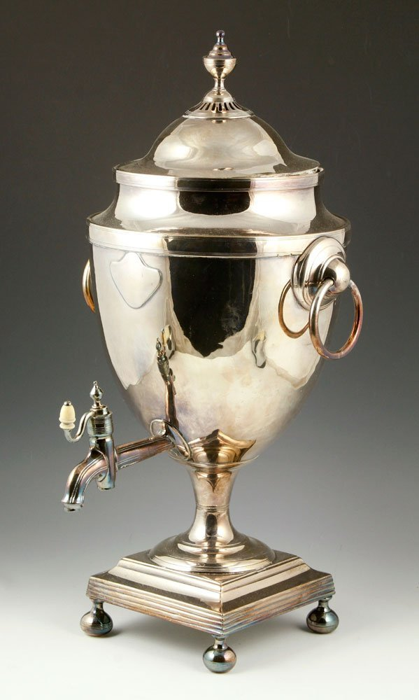19th C. English Silver Sheffield Hot Water Urn
