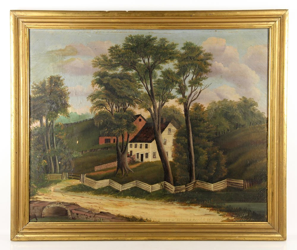 19th C. English Country Scene, Oil on Canvas