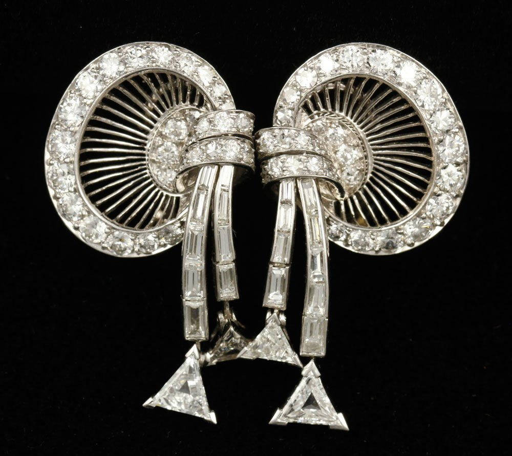 Pr. Platinum and Diamond Earrings