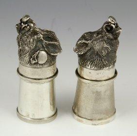 Pr. Russian Silver Boars Head Stirrup Cups