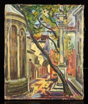 Kolosiev, Street Scene, Oil On Canvas