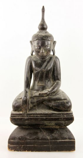 Antique Carved Wood Buddha