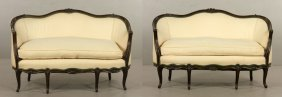 Pr. French Upholstered Settees