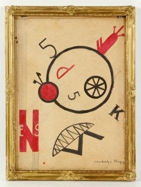 Attr. Moholy Nagy, Abstract, Mixed Media