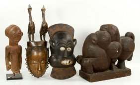 4 Carved African Items