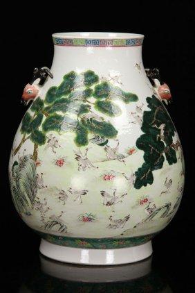 Chinese Famille Rose Hundred Crane Zun Vase