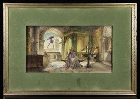 American School, Courting Scene, Watercolor