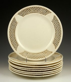 Set Of English Creamware Dinner Plates