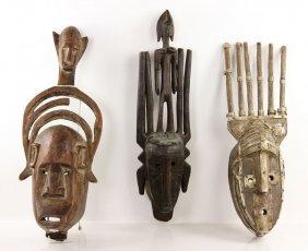 3 Vintage African Masks