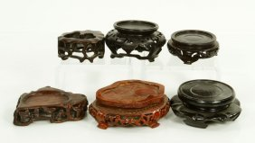 6 Chinese Carved Wood Stands