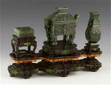 Chinese Carved Spinach Green Jade Scholar's Set