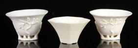 Three Blanc De Chine Porcelain Cups