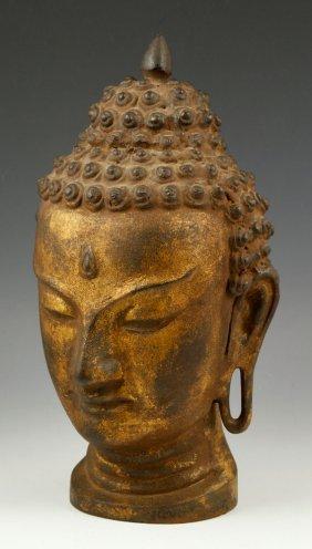 Thailand Gilt Bronze Buddha Head