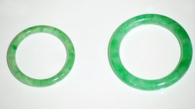 Two Chinese Jadeite Bangles