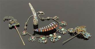Five Chinese Silver Jewelry