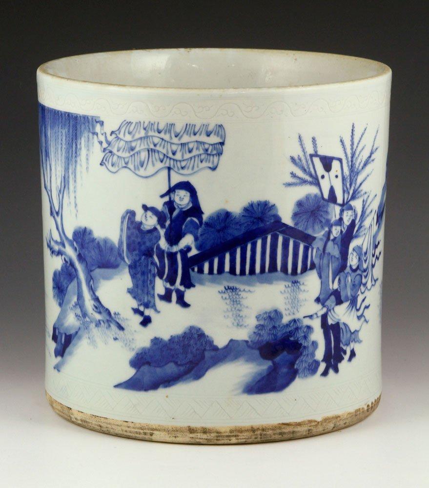 Chinese Large Blue and White Brush Pot