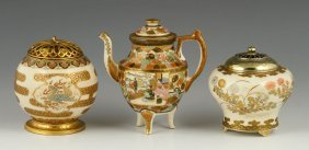 Three Japanese Satsuma Porcelain Censers