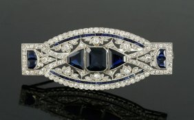 Edwardian Platinum, Diamond And Sapphire Brooch