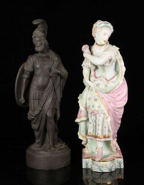 19th C. Paris Bisque Figure And Black Basalt Figure