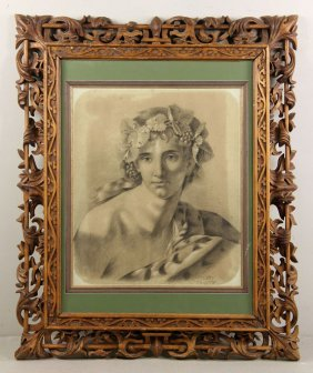 19th C. Italian, Bacchant, Drawing