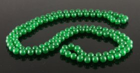 Chinese Spinach Jade Bead Necklace