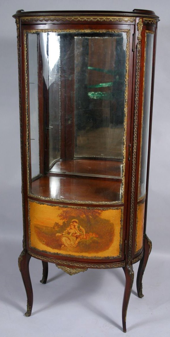 1: 19TH C. FRENCH SOLID MAHOGANY CURIO CABINET