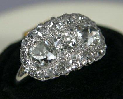 7A: LADIES DIAMOND RING, PLATINUM TOP, 14KT SHANK