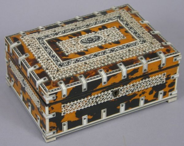 13: LATE 19TH C. BOX WITH IVORY CUT FRETWORK