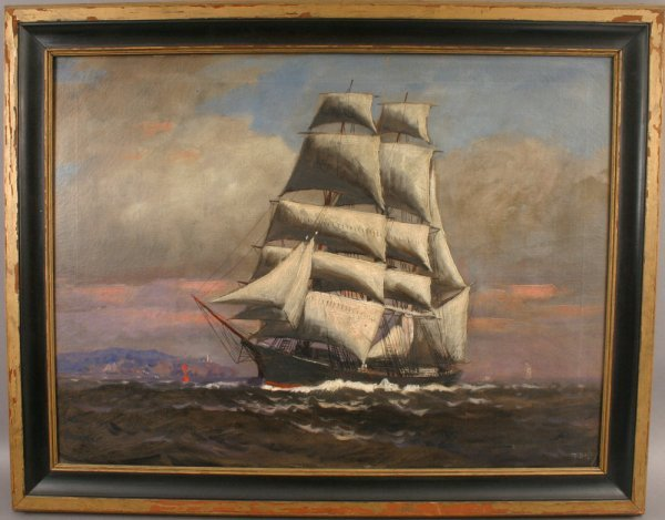 17: SIGNED T. BAILEY OIL CANVAS SHIP AT SEA