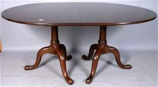 24 HENKEL HARRIS DOUBLE PEDESTAL MAHOGANY TABLE