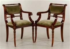 Pr. Regency Style Mahogany Armchairs