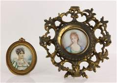 2 Miniature Portraits of Ladies